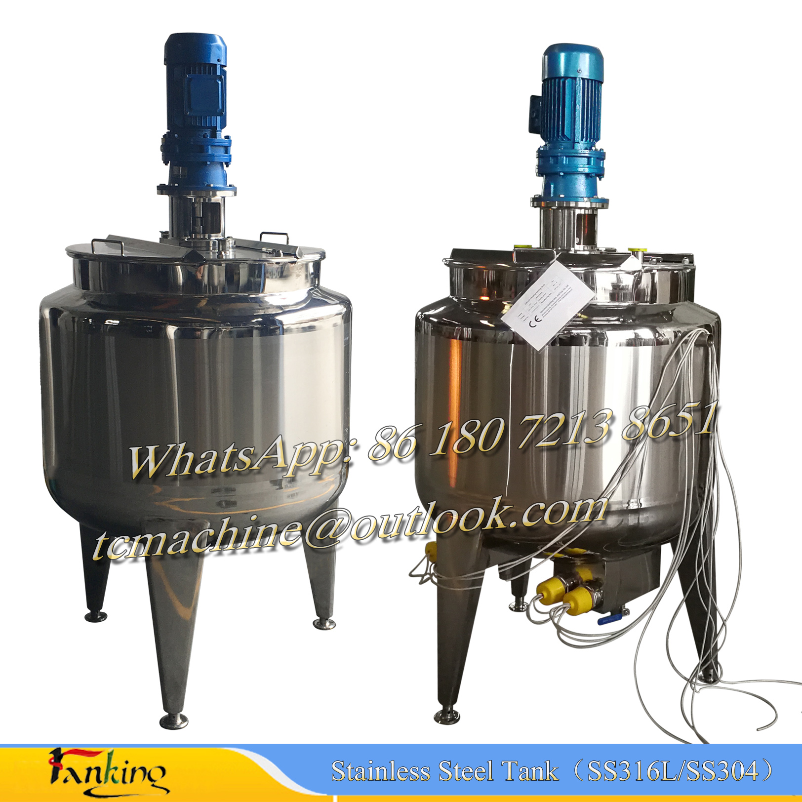 Stainless steel vessel for mixing / emulsifying / homogenizing / cooling / heating jacketed tanks